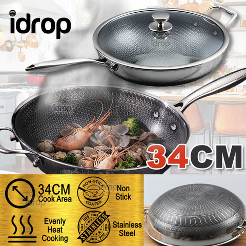 idrop 34CM NON-STICK Honeycomb Stainless Steel Cooking Wok Pot + Lid Glass Cover