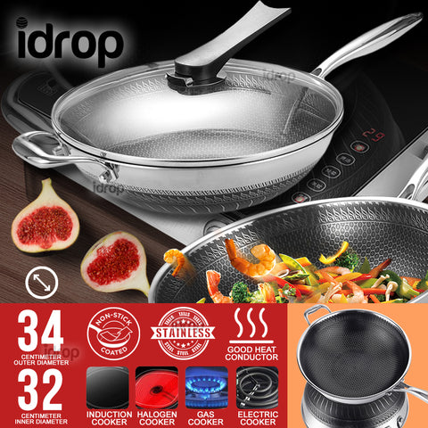 idrop 34CM/32CM Stainless Steel Non Stick Double Sided Honeycomb Cooking Frying Pan Wok