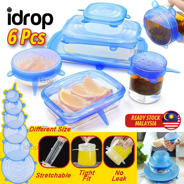 idrop 6PCS Multisize Stretchable Silicone Food Storage Cover Waterproof & Leakproof