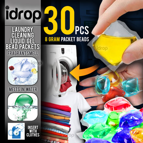 idrop Laundry Cleaning Fragrant Perfume Liquid Gel Soap Bead Packets [ 30pcs x 8g ]