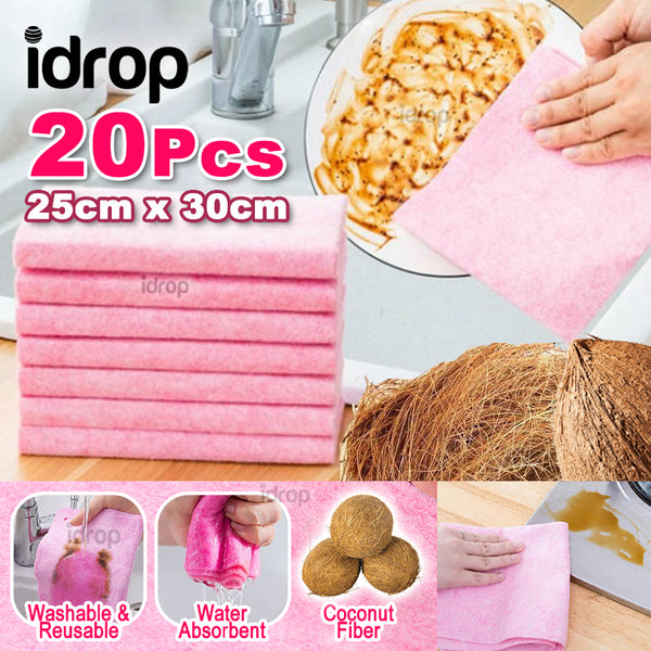 idrop [ 20PCS Set ] Multipurpose Washable & Reusable Coconut Cleaning  Wiping Rag Cloth [ 25cm x 30cm ]