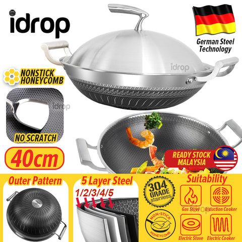 idrop 40CM Kitchen Honeycomb Non Stick Cooking Frying Wok SU304 Stainless Steel with Lid Cover
