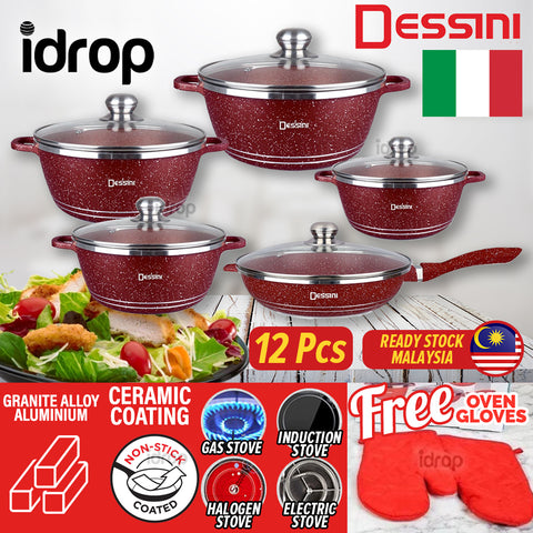 idrop [ 12PCS ] DESSINI Ceramic Granite Alloy Non Stick Coating Kitchen Cooking Deep Fry Pan Pot Casserole Set  / Set Periuk Memasak