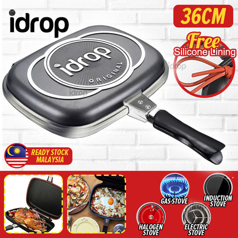 idrop 36CM DOUBLE SIDED FRYING PAN - Kitchen Cooking Pressure Grill Cookware