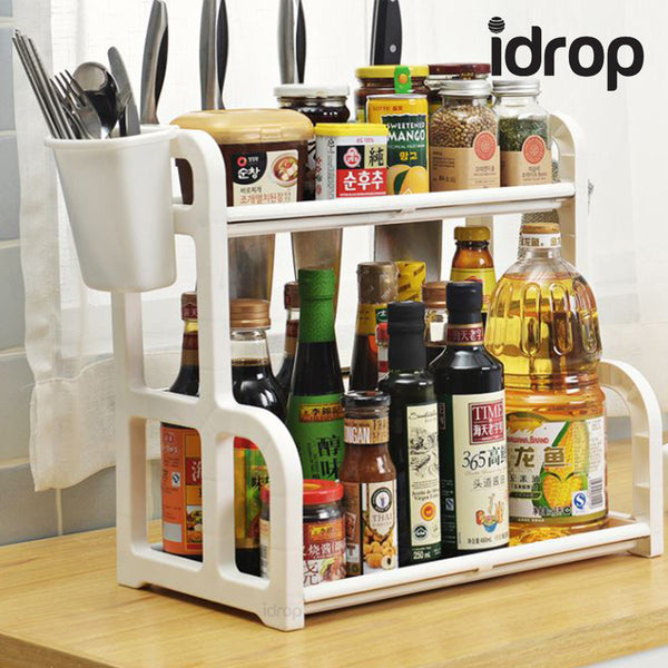 idrop 2 Layers Kitchen Plastic Organiser Shelving Shelf with Side Storage, Hooks & Utensil Cups