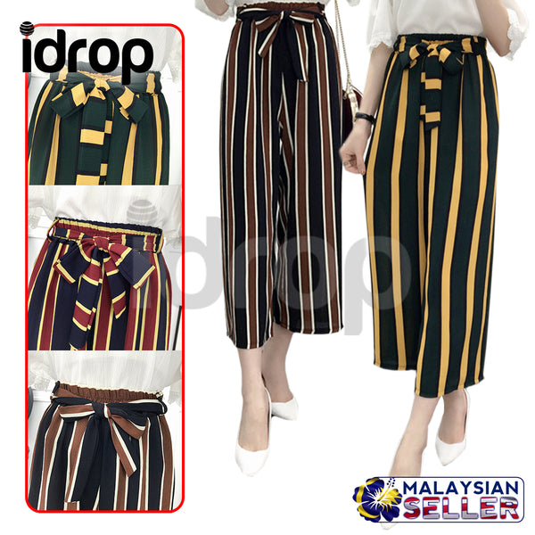 idrop KOREAN FASHION Women's Chiffon Loose High Waist Casual Spring Summer Stripe Pants with Belt