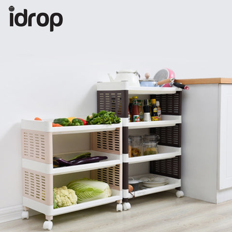 idrop Shelf Trolley 3-Layer / 4-layer mobile kitchen storage finishing racks bathroom plastic shelf