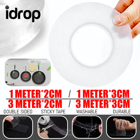 idrop Double Sided Transparent Strong Grip Sticky Tape [ 1M / 3M*2CM / 3CM ]