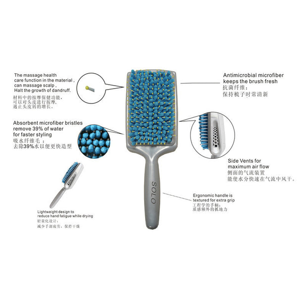 Professional Microfiber Bristiles Hair Paddle Brush Faster Dry Comb