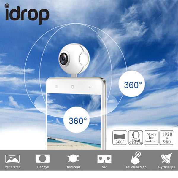 idrop Pano Live I 360 Degree Dual lens VR Video Camera Real Time Seamless  Stitching With Micro USB and Type-C Connector