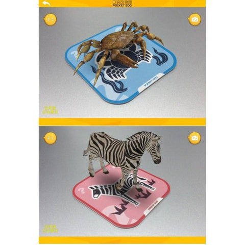 Pocket Zoo 96 Kinds 3D Animals Cards AR Stereo Bilingual Children's Early Education Card Pocket Zoo Baby Toys Electronic Pets