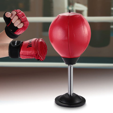 Desktop Punching Bag With Suction Base - Red
