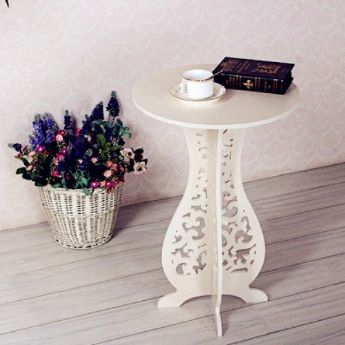 Retro Carved Small White Coffee Table