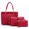Set Of 3 Crocodile Print PU Leather Bags