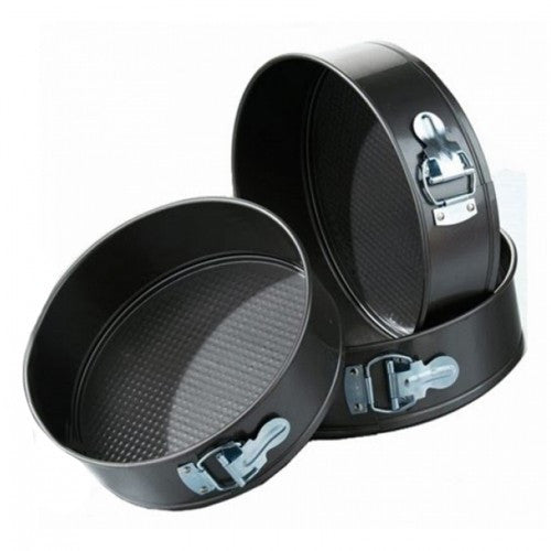 Set Of 3 Round Shape Cake Mould - Black