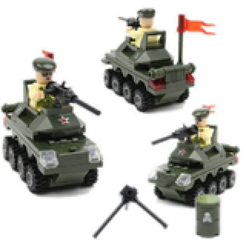 Set Of 3 Small Building Block (Tank Car + Fire Truck + Rescue Team)