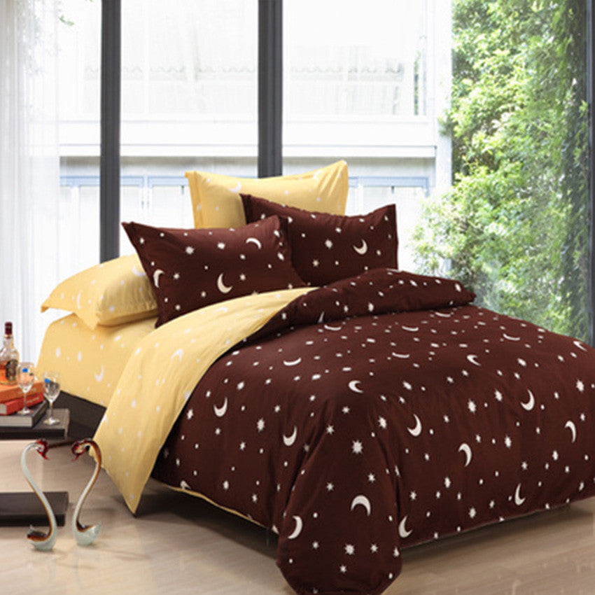 ... Star U0026 Moon Patterned 500 Thread Count Fitted Bed Sheet Set   Queen
