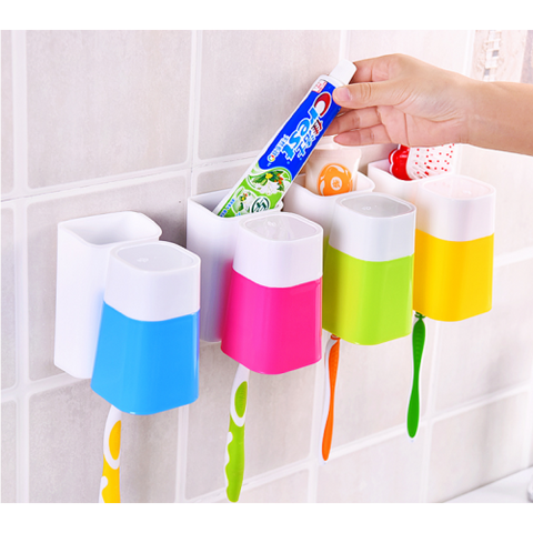 Set of 2 Creative Sucker Toothbrush Holder Tumbler Set-Random Colour