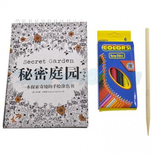 Set of 5 Mini Coloring Book + Color Pencil (Secret Garden)