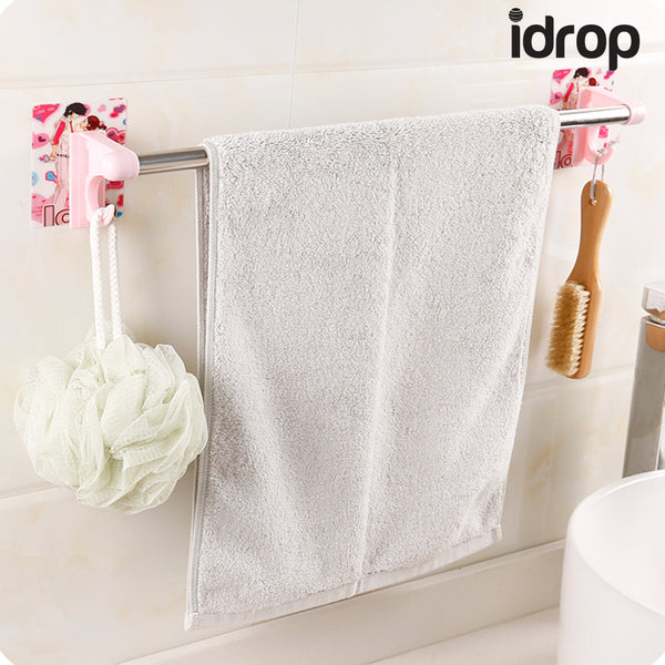 idrop Strong Suction Sticker Single Pole Bathroom Shelves Towel Rack