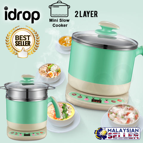 idrop Multifunction Electric 2 Layer Mini Slow Cooker for Kitchen Tools