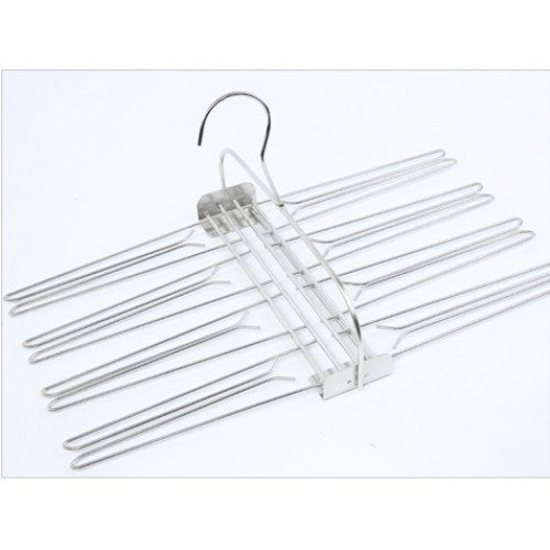 Stainless Steel Frame Culottes 8 Dress Hanger Clothing Storage Rack Clip Hanger