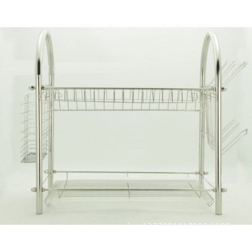 Stainless Steel Multifunctional Bowl Rack Double Layer Water Dish Rack