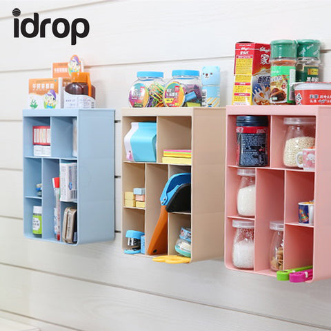 idrop Multi-Partition Storage Box Wall-mounted Shelves Multi-cell Storage Box Can Stand Kitchen Bathroom
