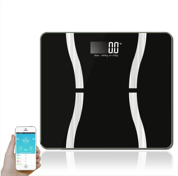 Bluetooth Digital Body Fat Analyzer Body Weight Fat Water Muscle Bone BMI Calorie Scale (BLACK)