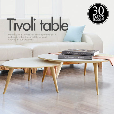 Japanese Modern Style Solid Wood Triangular Table Set
