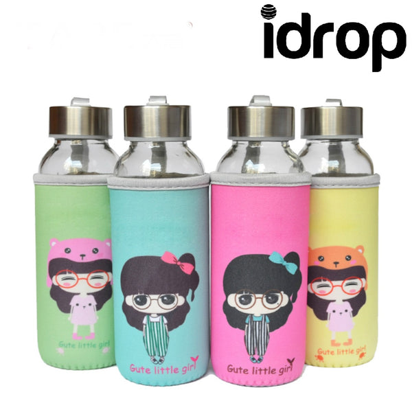idrop 360ml Cute Little Girl Unbreakable Glass Water Bottle With Cloth Cover