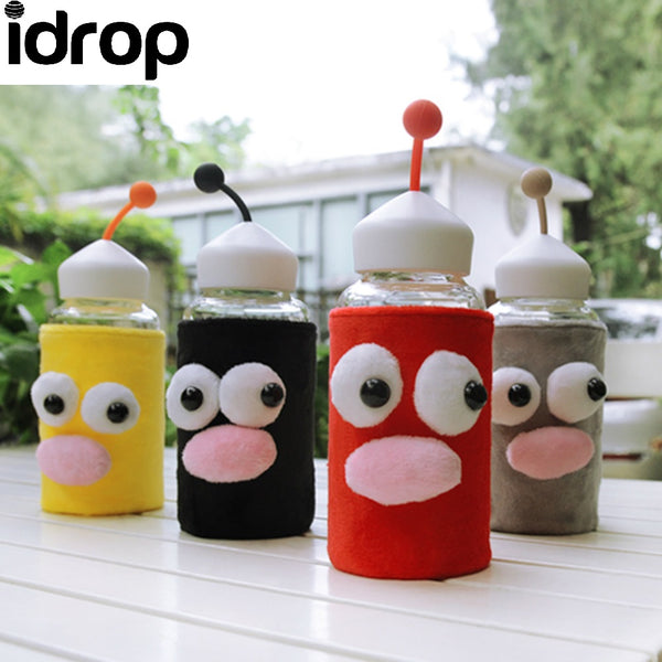 Idrop W-03153#320ml Cute Cartoon Glass Bottle With Cloth Cover