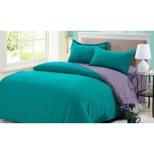 Two-Tone Fitted Bedsheet Set With Quilt Cover