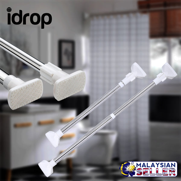 idrop Bathroom Shower Curtain Telescopic Rod Racks