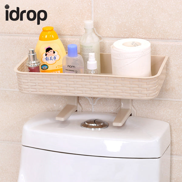 idrop Hanging Type Toilet Lid Wall Shelf Imitation Rattan No Trace Sticker Imitation Rattan Storage Rack