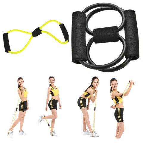 2x Yoga 8 Fitness Equipment Tool (Yellow + Black)