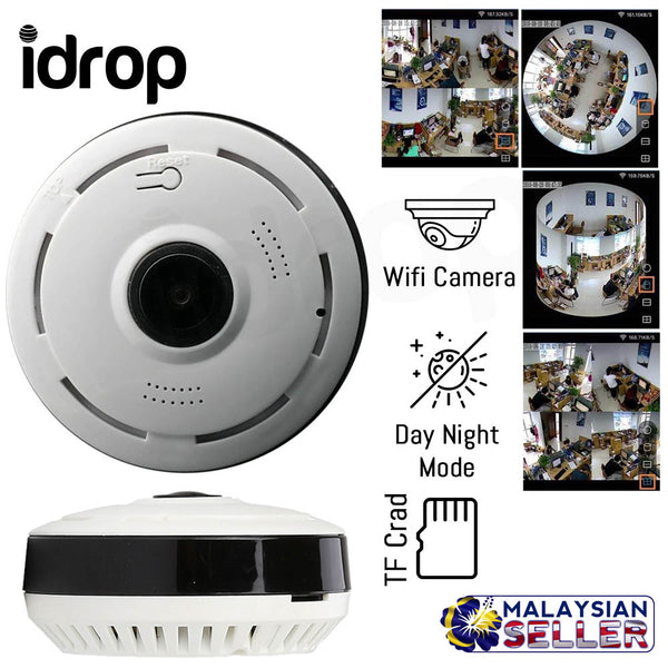 idrop V380 360-degrees Panoramic Camera Wi-Fi Connected with Mobile Phone and Video Recorders