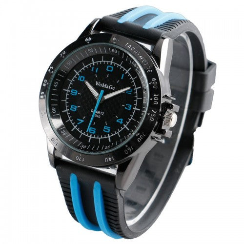 WoMaGe Brand Clock Quartz Movement Silicone Band Wristwatch Watch Men Relogio Masculino Sports
