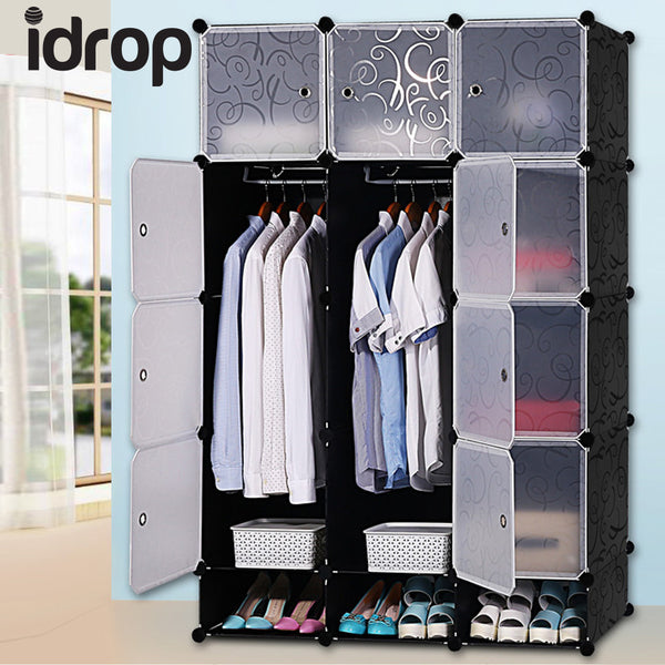 idrop 12 Cubes Wardrobe with Two Hangers & Shoe Cabinet