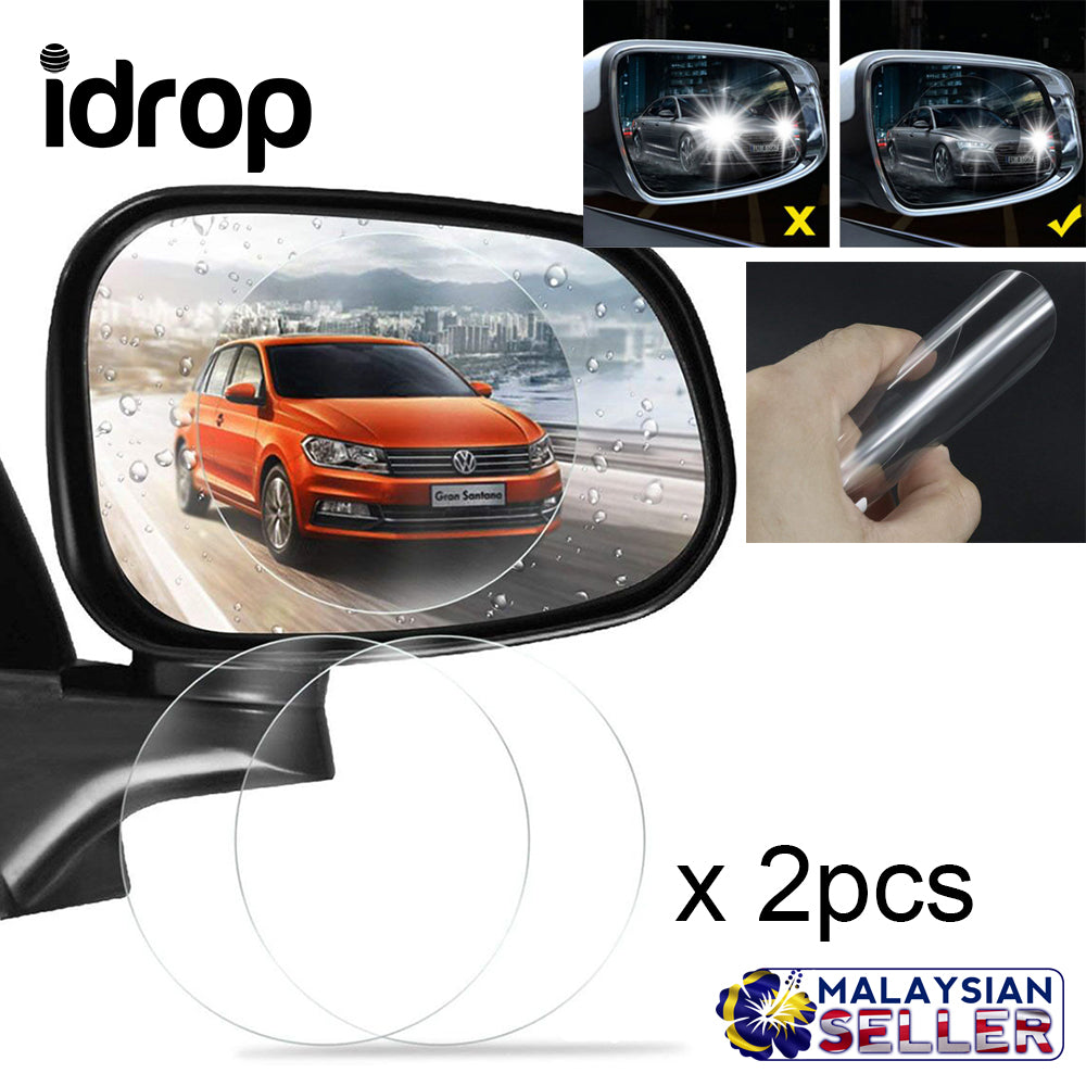 Idrop Car Rearview Mirror Waterproof Membrane Anti Fog Anti Glare