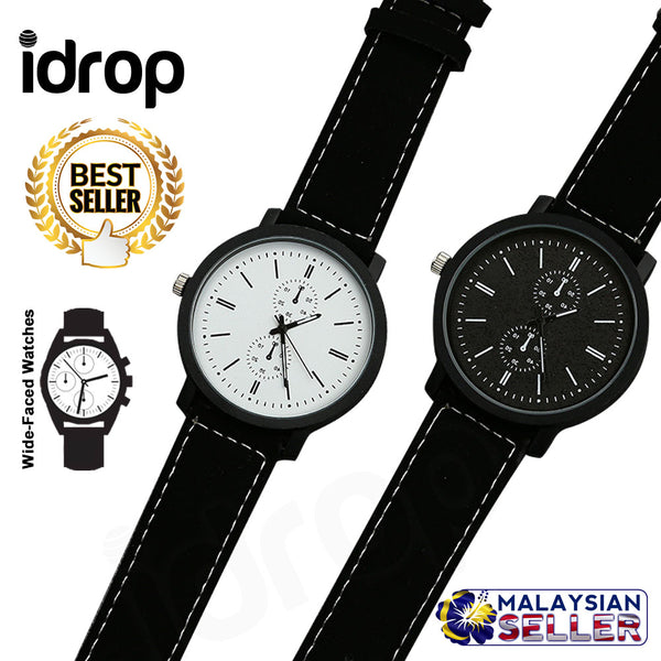 idrop Men's 40mm Wide-Faced Watches with Black & White Dial
