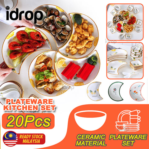 idrop 20PCS Moon Dish Ceramic Tableware Platter Set