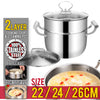 idrop 2 Layer Stainless Steel Kitchen Cooking Soup & Steaming Pot [ 22cm / 24cm / 26cm ]