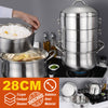 idrop 28CM 3 Layer Multilayer Stainless Steel Kitchen Steamer Cooker