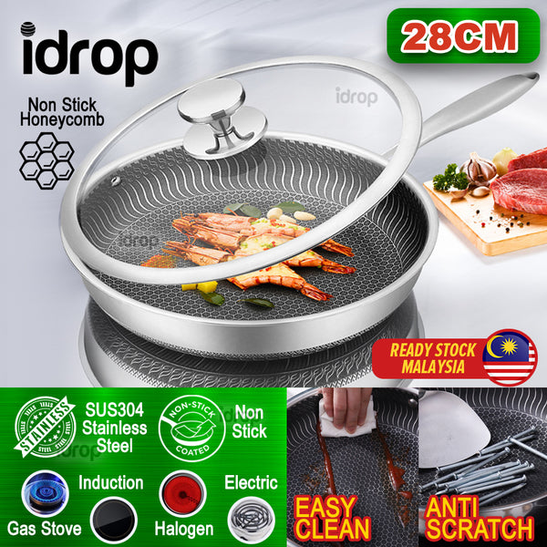 idrop 28cm Multifunction Kitchen Cooking Fry Pan with Glass Lid Cover