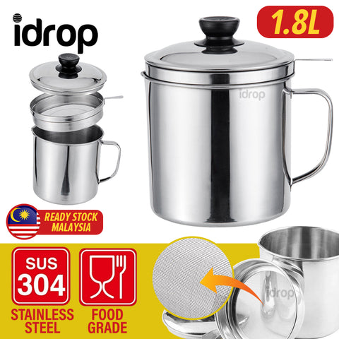 idrop 1.8L Stainless Steel Filter Separator Oil Storage Pot for Kitchen Tools