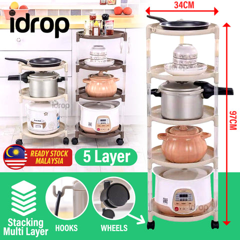 idrop 5 LAYER Multilayer Mobile Portable Household Kitchen Rack Shelf with Wheels