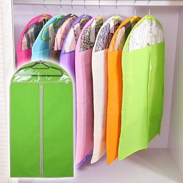 Non-woven Fabric Storage Garment Cover Protector Bag with Translucent Top for Suit Dress Clothes Dustproof (Green)
