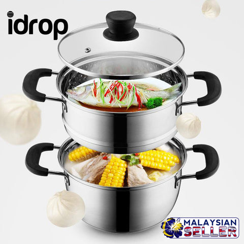 idrop Stainless Steel Double Layer Non-stick Soup & Steamer Pot [22cm,24cm,26cm]