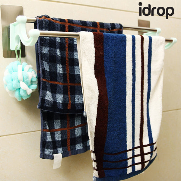 idrop Plastic Double Wall Mounted Bathroom Towel Rack